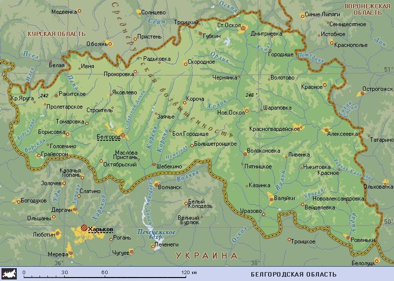 Белгород где находится карта россии