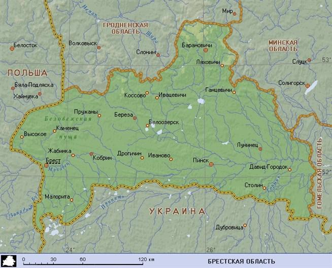 Картинка брестской области с районами и деревнями