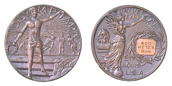 Серебряная медаль за бег на 800 м, Летние Олимпийские игры 1904 г., Сент-Луис, США